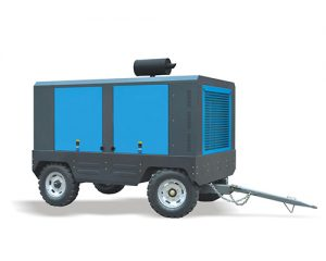 This is a picture of a BOUWA™ Diesel Portable Air Compressor (tow-behind)